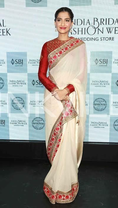 Sonam Kapoor goes traditional in a red and white saree, looks like a million…