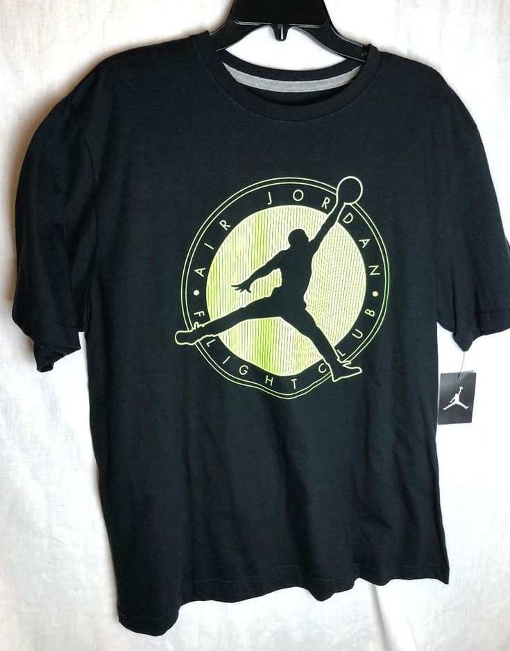 Nike Air Jordan Flight Club Tee Shirt Size XL Mens Black Neon 576988-011 New NWT #Nike #ShirtsTops