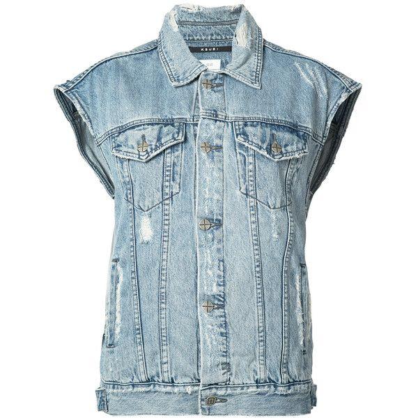 Ksubi sleeveless denim jacket ($200) ❤ liked on Polyvore featuring outerwear, jackets, blue, blue jackets, denim jacket, no sleeve jean jacket, blue jean jacket and ksubi