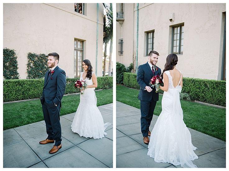 First looks between bride and groom | Brooke Bakken BlogEBell Club Wedding | Jen + Josh | Long Beach California Photography