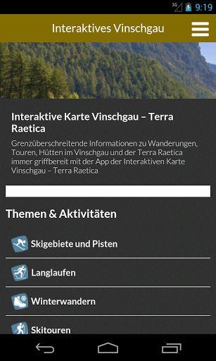Orientierungslos? Planen Sie Ihren Urlaub im Vinschgau – Südtirol mit der grenzüberschreitenden Interaktiven Karte Vinschgau – Terra Raetica. Mit dieser kostenlosen App haben Sie wichtige Informationen zu Wandertouren, Mountainbiketouren, der nächsten Schutzhütte oder Unterkunft immer griff- und abrufbereit auf Ihrem Smartphone.<p>Folgende georeferenzierte  Inhalte bietet die App Interaktiven Karte Vinschgau – Terra Raetica. <p>Sommer<p>- Wanderungen und Bergsteigen<br>- Radfahren (Via…