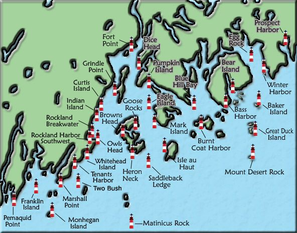 Acadia and Penobscot Bay Maine Lighthouse Map - The lighthouse on Whitehead Island (manned by the US Coast Guard) is the one we saw from our living room window on Spruce Head Island. I had to go to bed when the light came on!!