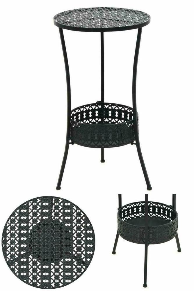 d1d3998ce53b Small Black Metal Table Round Indoor Outdoor Garden Shelf Basket Home  Furniture