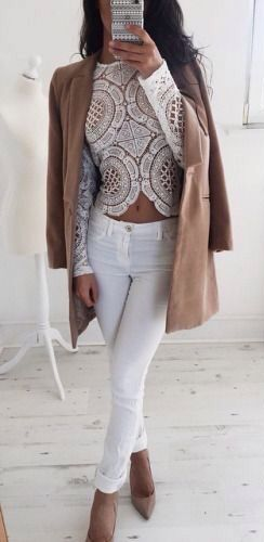 lace + denim. white + nude. But with high waisted jeans