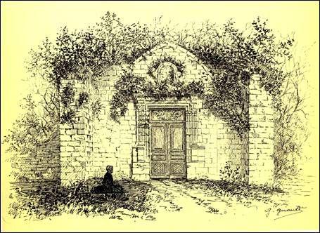 Dessin de G. Girault, vers 1890. Le portail occidental en ruines: la porte des années 1680 est incluse dans la grande arcade gothique du XIII°s, entre 2 puissants contreforts. Détruit en 1906-1908).- 57) CHATELLIERS: L'église fut gravement endommagée en 1346 et 1413 par les Anglais lors de la Guerre de Cent Ans. Le tombeau de Giraud de Salles fut profané et disparut, et il fallut refaire en partie le carrelage, plus simplement.