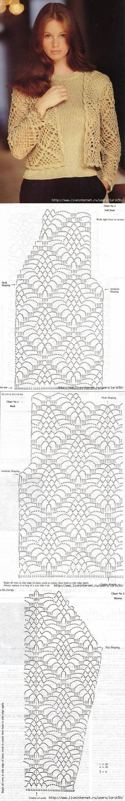 "bolero chaqueta de corto. [ ""Hermosa chaquetita calada, manga larga a crochet."", ""Bolero for my daughter and my mother."" ] #<br/> # #Bolero #Crochet,<br/> # #Crochet #Chart,<br/> # #Crochet #Cardigan,<br/> # #Crochet #Lace,<br/> # #Lace #Bolero,<br/> # #Crochet #Patterns,<br/> # #Short #Jackets,<br/> # #Bolero #Pattern,<br/> # #Shorts<br/>"