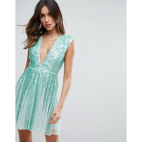 ASOS SALON Mint Sequin Panelled Fit and Flare Mini Dress ($115) ❤ liked on Polyvore featuring dresses, green, mint green dress, fit and flare cocktail dress, prom dresses, sequin prom dresses and open back prom dresses