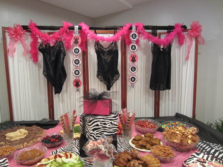 Lingerie bridal shower ideas lingerie shower pinterest for How to decorate for a bridal shower at home