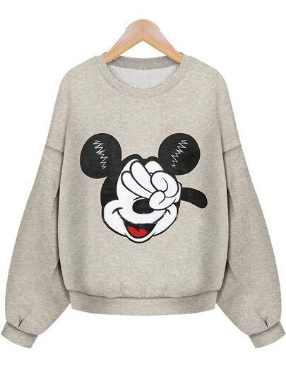 Sudadera Crop Mickey manga larga-gris