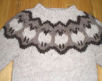 Icelandic wool sweater/pullover for kids/child with sheep pattern, hand knitted, for 5 year old, ready to ship.