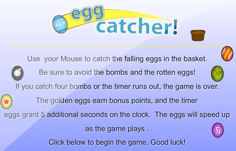 Play a free egg catcher game online!