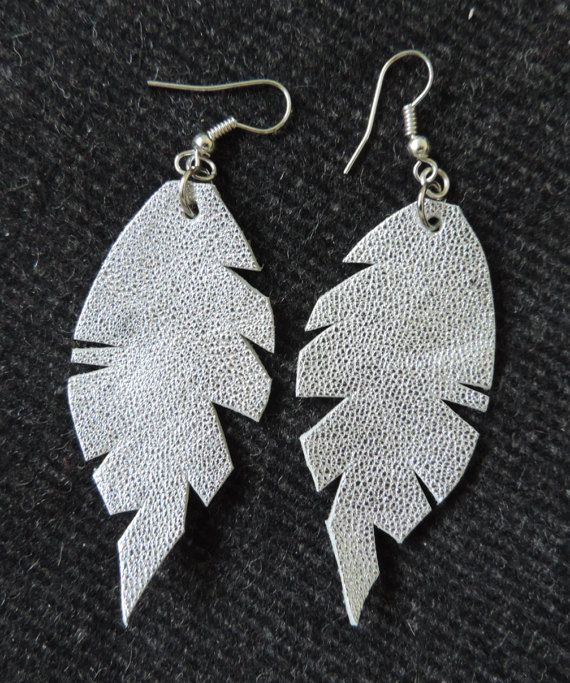 Feather earrings made of natural leather by TransylvanianTrove