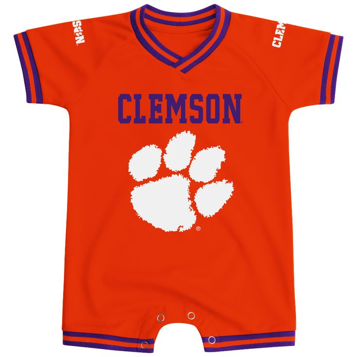 Show off your love for Clemson in this officially licensed Clemson baby onesie by Colosseum Athletics. Featuring the team name and Clemson mascot, this romper includes 4 snaps for easy half diaper changes between time outs.