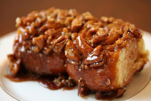 Cinnamon sweet sticky buns, with melted brown sugar and pecans.