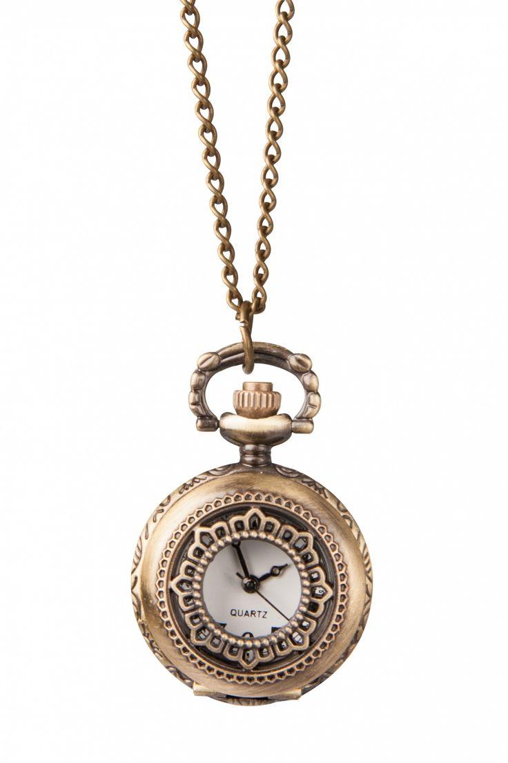 From Paris with Love! - 30s Petit Montre Fleur Horloge Ketting Brons