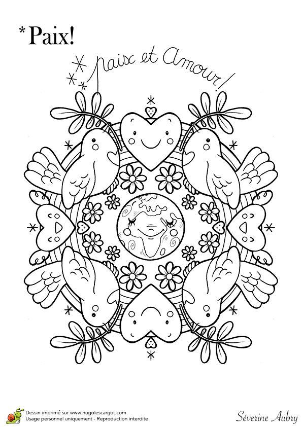 Coloriage sur le thème de la paix, le mandala de l'amour - Hugolescargot.com