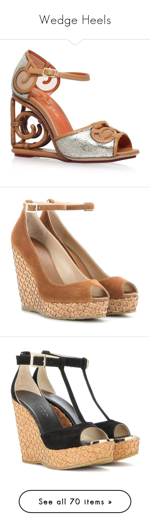 """""""Wedge Heels"""" by tiryn13leucine ❤ liked on Polyvore featuring shoes, sandals, ankle strap sandals, silver shoes, wedge sandals, silver wedge sandals, ankle wrap sandals, wedges, brown and wedge shoes"""