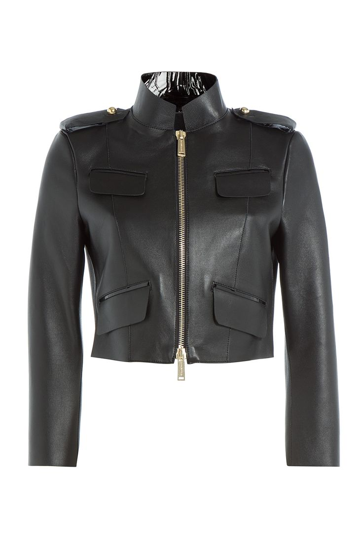 DSQUARED2 Cropped Leather Jacket. #dsquared2 #cloth #leather jackets