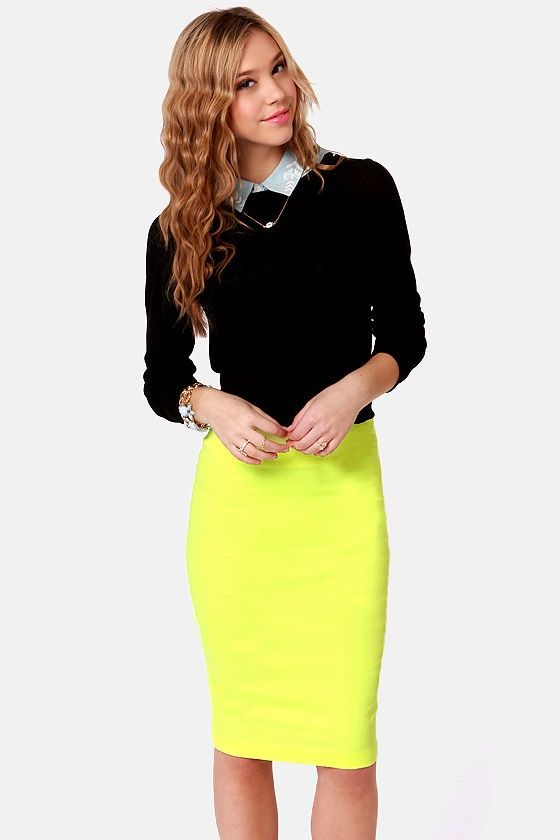 Cute Pencil Skirt Outfits | Cute Neon Yellow Skirt - Pencil Skirt - $43.00 | Outfits