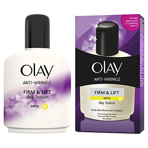 Olay SPF15 Anti-Wrinkle Firm and Lift Anti-Ageing Moisturiser Day Lotion, 100 ml Olay anti-wrinkle firm and lift visibly reduces the signs of ageing in just 14 daysDaily anti-ageing face lotion with SPF 15 designed to combat signs of ageingMore radiant glowing skin in 7 daysSkin firmer in 28 daysProvides soothing hydration and UV protectionOlay anti-wrinkle firm and lift visibly reduces the signs of ageing in just 14 daysDaily anti-ageing face lotion with SPF 15 designed to