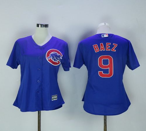 MLB Womens New Chicago Cubs Cool Base #9 Javier Baez Blue Baseball Jerseys Stitched