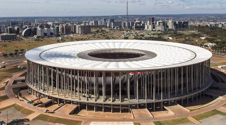 Estádio Nacional Mané Garrincha, in Brasilia (shown in 2013), is now being used primarily as a bus parking lot.