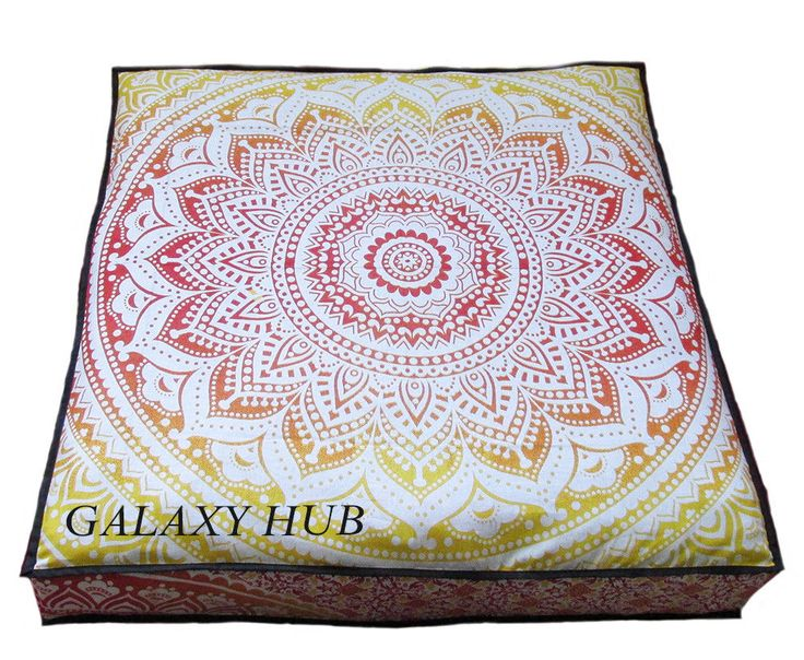 Large Indian Sqare Cushion Cover Ombrey Mandala Floor Decor Pet Bed Cover Throw #Handmade #ArtDecoStyle