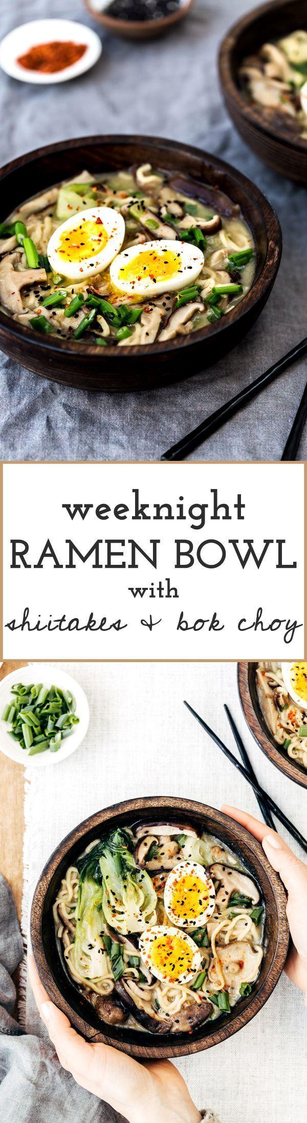 Weeknight Vegetarian Ramen Bowl with Shiitake Mushrooms and Bok Choy - Ready in 30 min! #recipe #weeknight #dinnerrecipes #dinner #ramennoodles #ramen