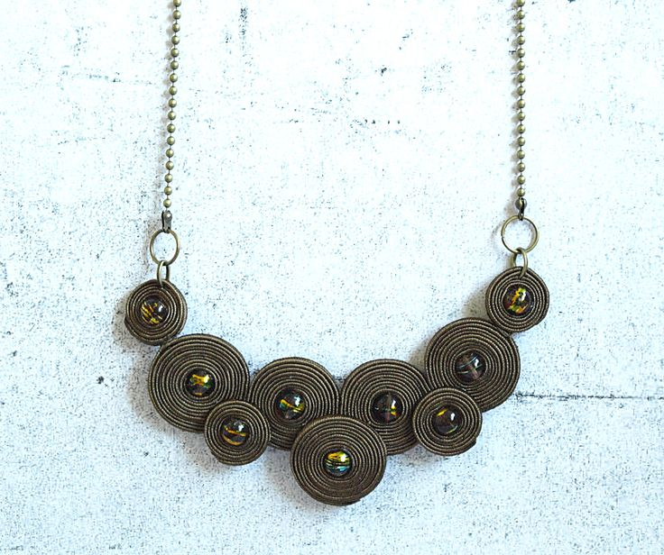 Brown soutache necklace -  hand embroidered - modern necklace - bead embroidery - geometry - soutache jewelry- gift under 30. $35.00, via Etsy.