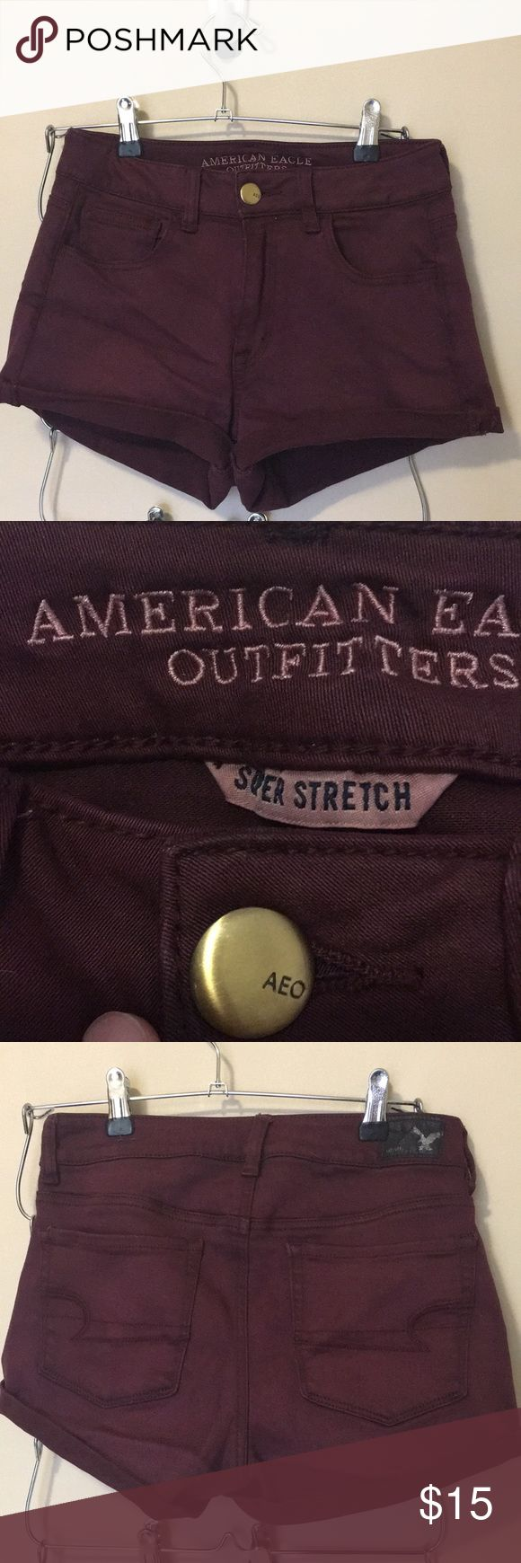 American Eagle super stretch maroon shorts size 4 American Eagle super stretch maroon shorts size 4, rolled bottoms.  excellent condition. American Eagle Outfitters Shorts Jean Shorts