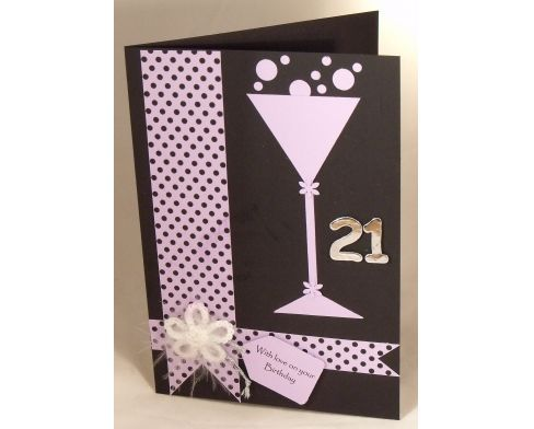 Handmade 21st Birthday Card; this would also work for New Years, Anniversary or any celebration