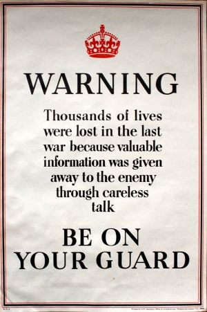 Be on Your Guard WWII, 1940s - original vintage World War Two poster listed on AntikBar.co.uk #CarelessTalk