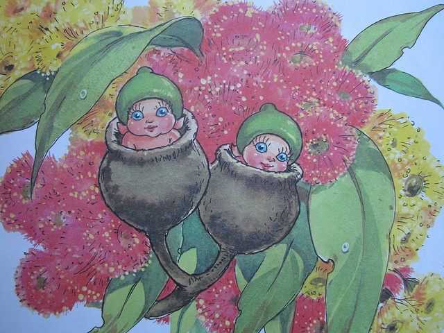 imagine a beanie covered in gumnut flowers (make use of novelty yarns for this effect) add in some gum leaves for variety, with the main feature being the gumnut babies... could even source some large ACTUAL gum nuts to use, and make little dolls for inside
