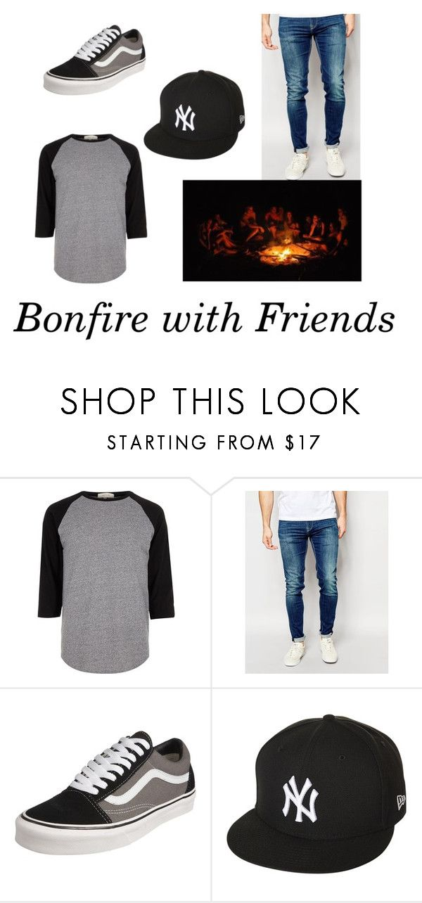 """Bonfire on the Beach with Friends"" by gcdonuts on Polyvore featuring River Island, Pepe Jeans London, Vans, New Era, men's fashion and menswear"
