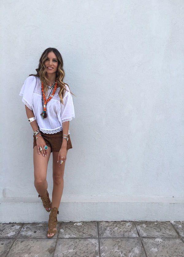 Athina oikonomakou wearing Pedro García style: Salvia / 'honeycomb' gladiator sandal in caramel castoro suede