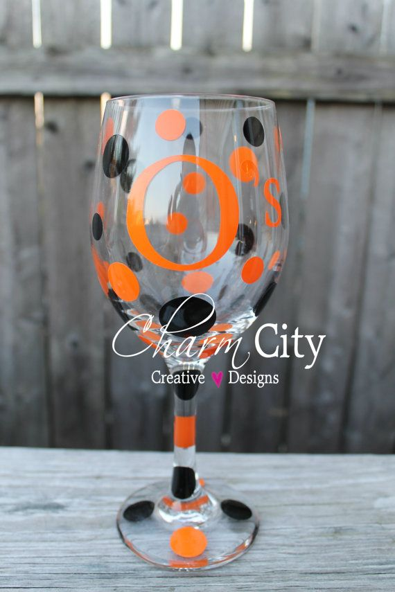 Baltimore Orioles Wine Glass qty 1 20 oz Baseball by ahindle78, $12.00