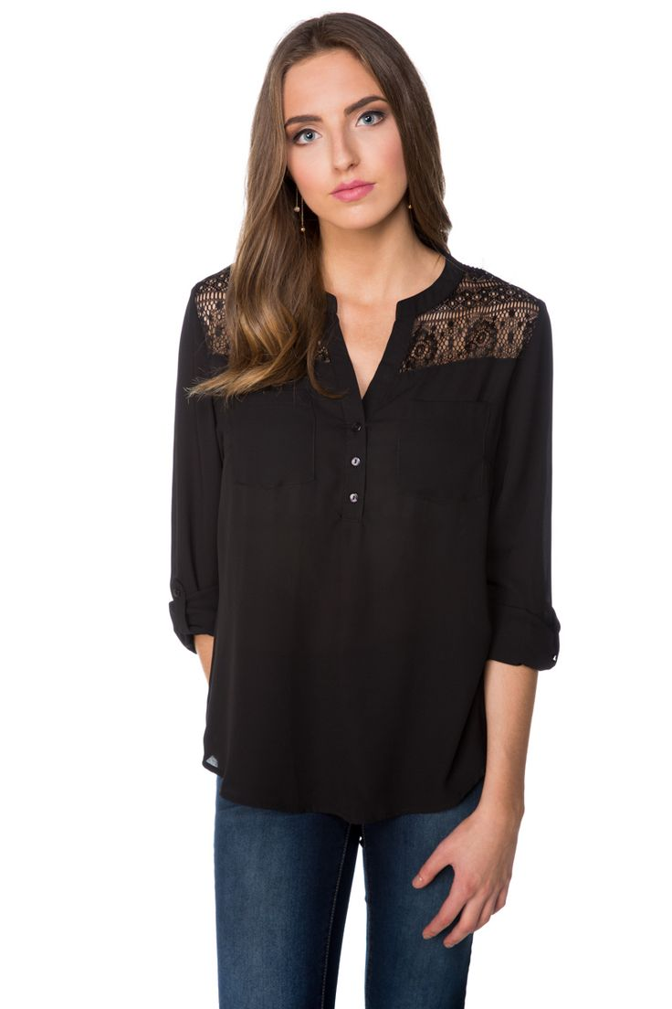 Blouse with Lace Shoulders and Roll-up Sleeves