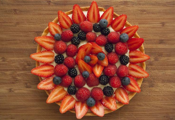 Red fruits tart : strawberries, raspberries, blackberries, & blueberries