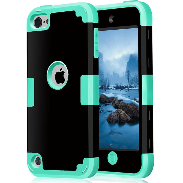 For iPod Touch 5/6 Cover Shockproof Protective Case Hybrid Hard Soft Silicone Armor Phone Cases w/Screen Protector Film
