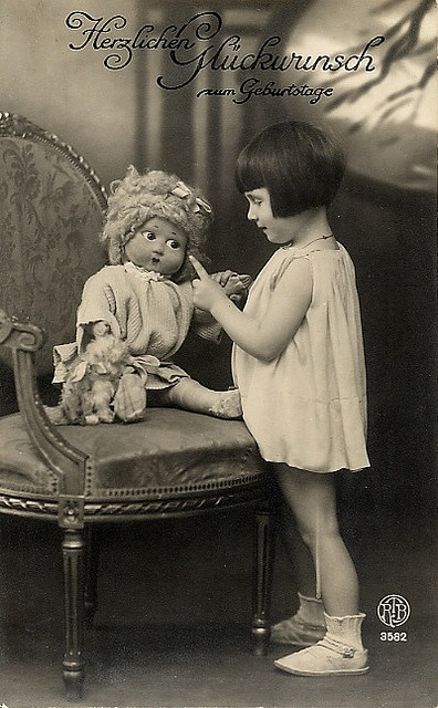 1920 Girl With Doll Birthday Postcard by ShutterlyHappy, via Flickr