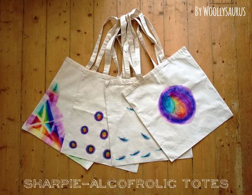 Sharpie-Alcofrolic Totes // Woollysaurus (rubbing alcohol and sharpies)