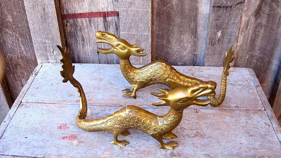 Vintage Mid Century 50u0027s Art Deco Brass Dragon Medieval Bookends Book Ends  Home Decor Statues Office Library Detailed Figurines