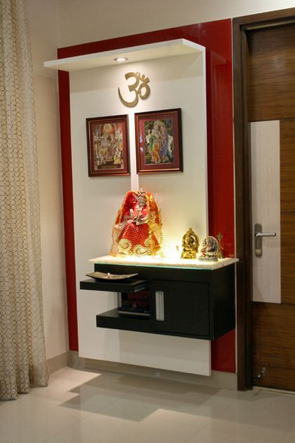 Pooja Room Designs in Living Room - Pooja Room and Rangoli Designs