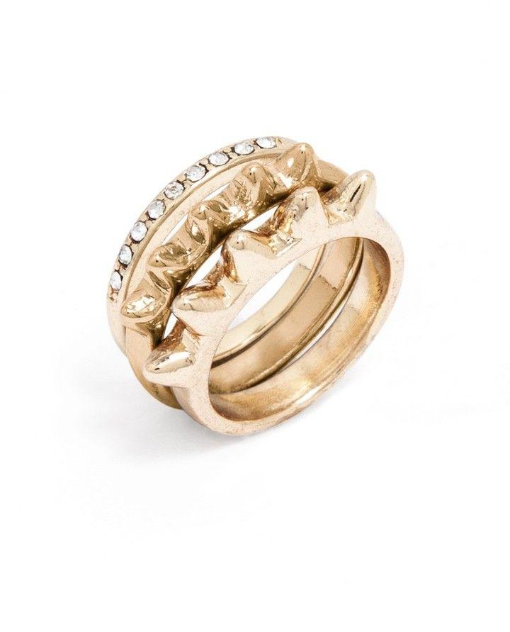 BaubleBar Contrast Spike Ring Set on shopstyle.com