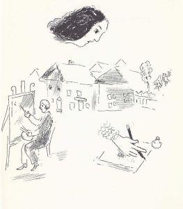 """Velas ardentes La muerte de Bella lo desesperó. Dos años después ilustró un volumen de memorias que ella le legó. Marc y su hija editaron el original escrito en Yiddish en prosa """"Velas ardientes""""  Significativamente, la portada reúne la cabeza de Bella, su mano que escribe (era escritora), el marido que retrata y las chozas de Vitebsk."""