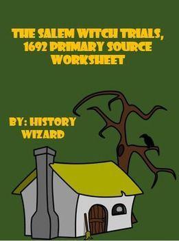 salem witch trials 1692 primary source worksheet source documents salem witch trials and. Black Bedroom Furniture Sets. Home Design Ideas
