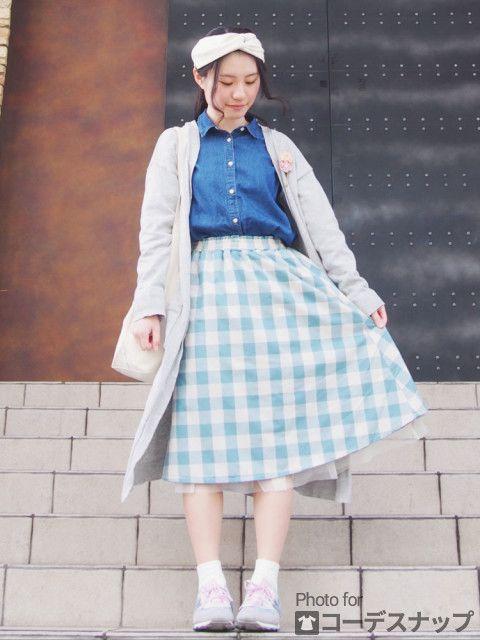 チュールを重ねて柔らかい雰囲気のコーデ♡プチプラなのにこんなにおしゃれなしまめるコーデ♡ファッション・スタイルのアイデア☆