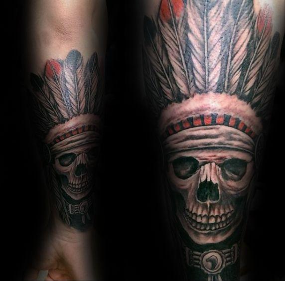 Forearm Indian Skull Male Sleeve Tattoo Ideas