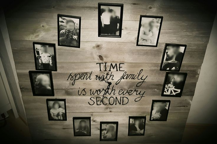 Barn wood clock with photos of family