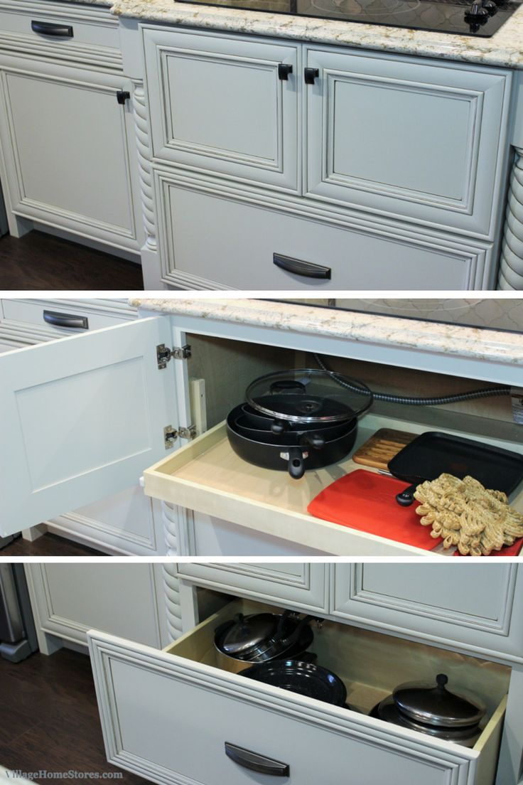 An Inverted Sinkbase #cabinet Used For An Electric Cooktop. Large #drawer  Below For Pots And Pans Storage And A Slide Out Shelf Above For Lids And U2026